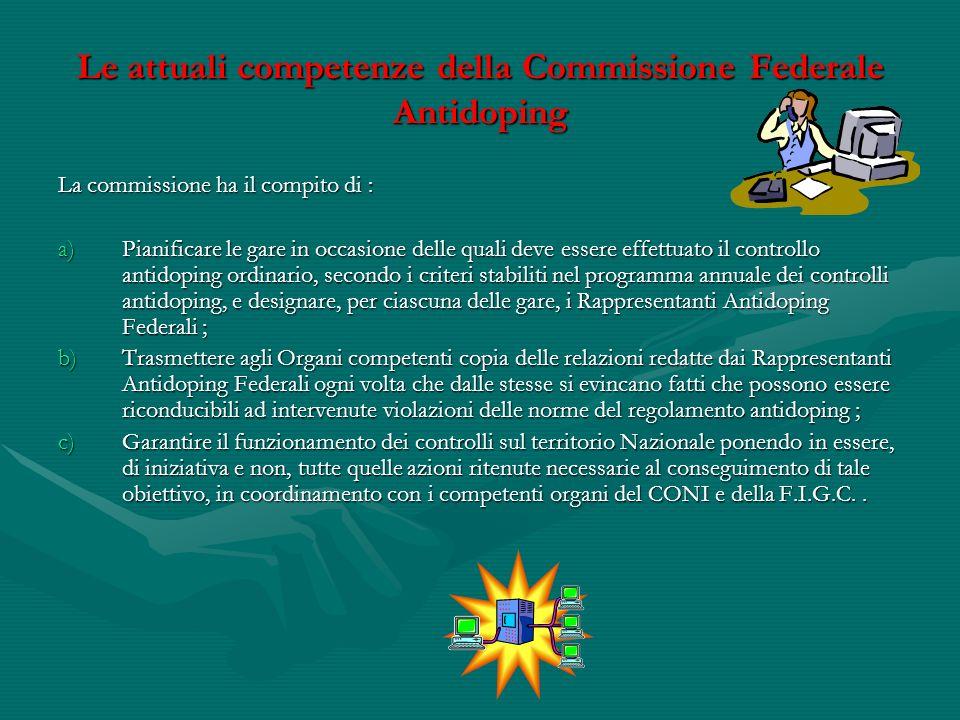 Le attuali competenze della Commissione Federale Antidoping