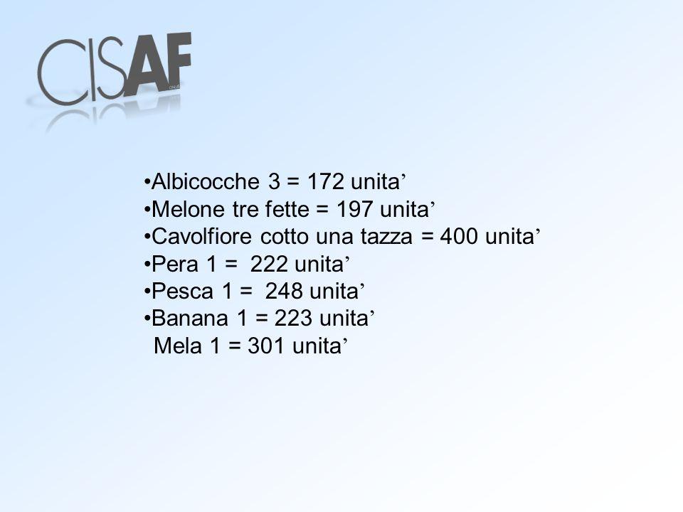 Albicocche 3 = 172 unita' Melone tre fette = 197 unita' Cavolfiore cotto una tazza = 400 unita' Pera 1 = 222 unita'
