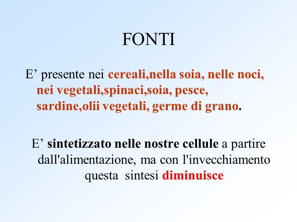 FONTI E' presente nei cereali,nella soia, nelle noci, nei vegetali,spinaci,soia, pesce, sardine,olii vegetali, germe di grano.