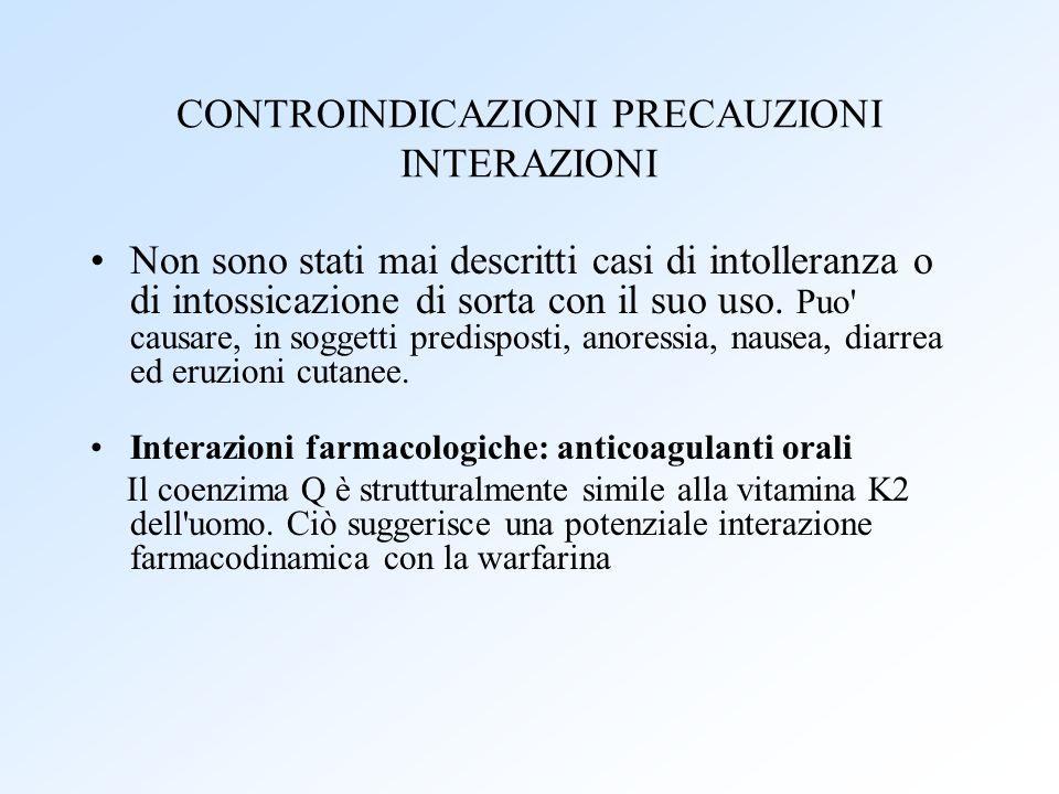 CONTROINDICAZIONI PRECAUZIONI INTERAZIONI
