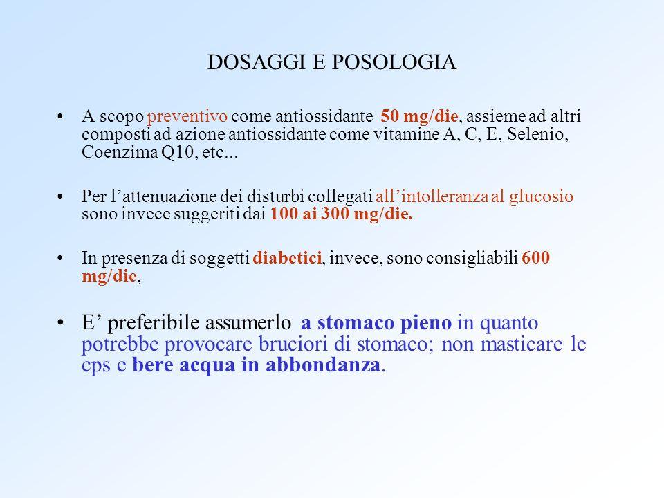 DOSAGGI E POSOLOGIA