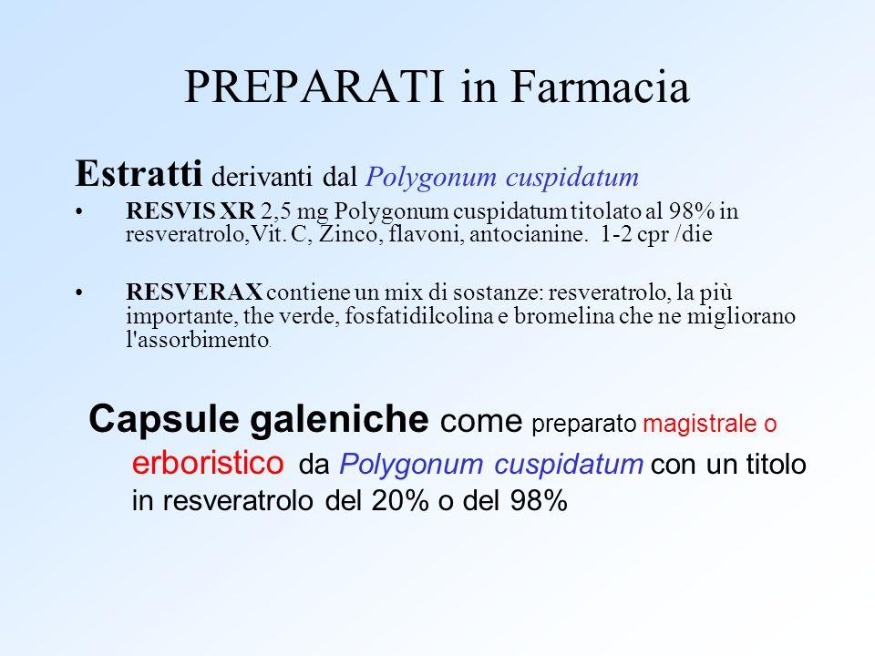 PREPARATI in Farmacia Estratti derivanti dal Polygonum cuspidatum