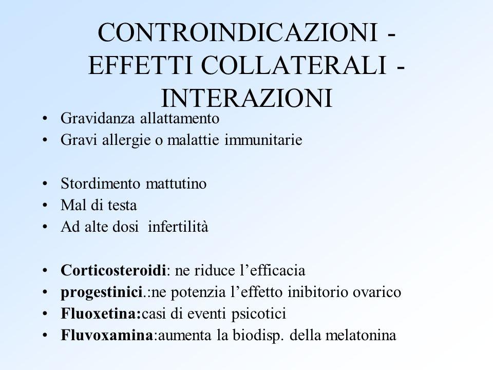 CONTROINDICAZIONI - EFFETTI COLLATERALI - INTERAZIONI