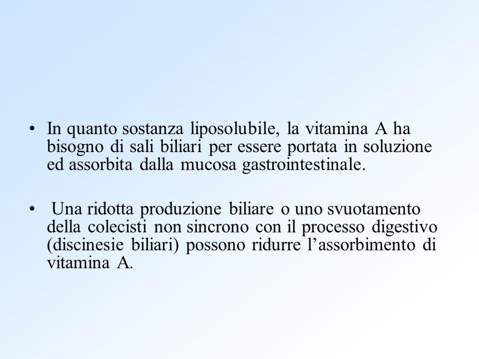 In quanto sostanza liposolubile, la vitamina A ha bisogno di sali biliari per essere portata in soluzione ed assorbita dalla mucosa gastrointestinale.