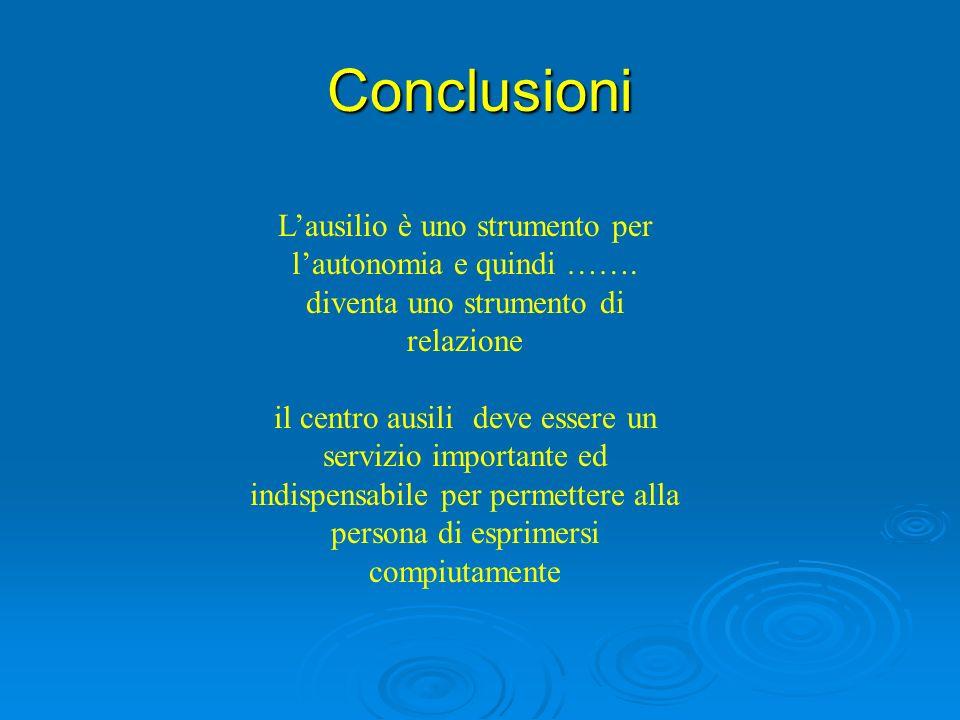 Conclusioni L'ausilio è uno strumento per l'autonomia e quindi ……. diventa uno strumento di relazione.