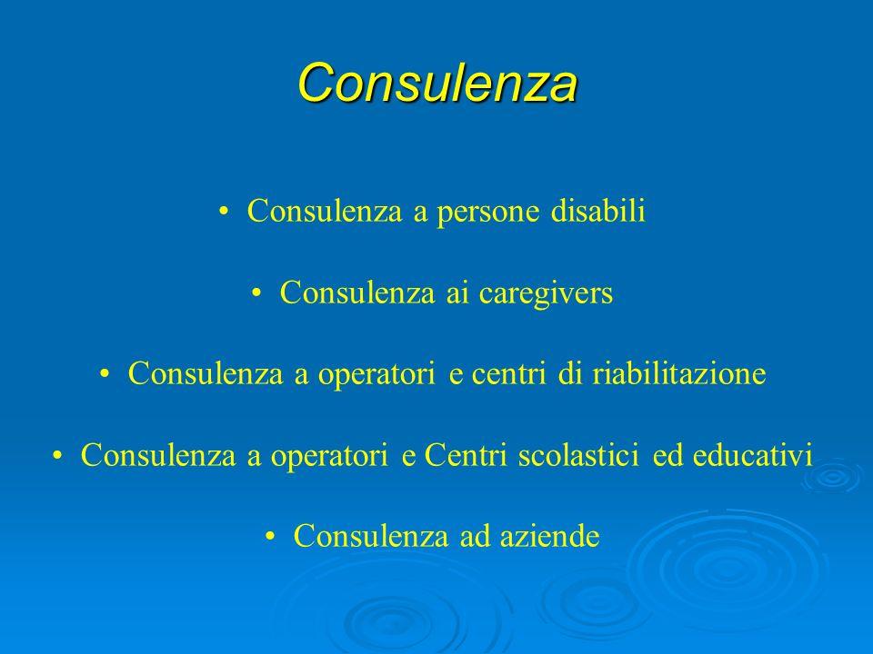 Consulenza Consulenza a persone disabili Consulenza ai caregivers