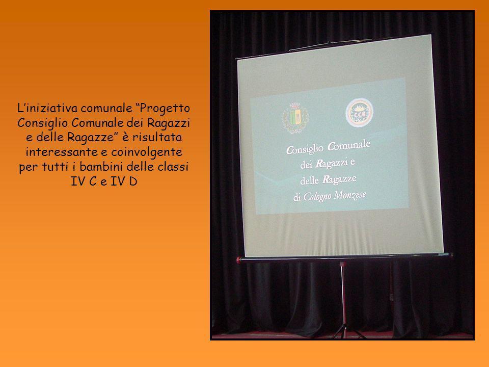 L'iniziativa comunale Progetto Consiglio Comunale dei Ragazzi e delle Ragazze è risultata interessante e coinvolgente per tutti i bambini delle classi IV C e IV D