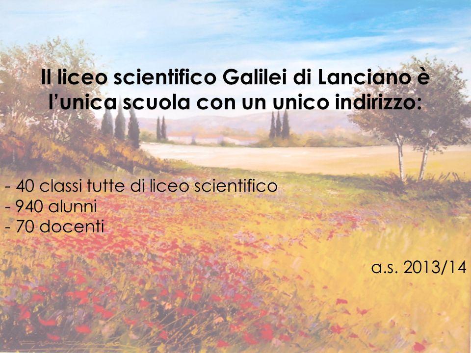 Il liceo scientifico Galilei di Lanciano è l'unica scuola con un unico indirizzo: