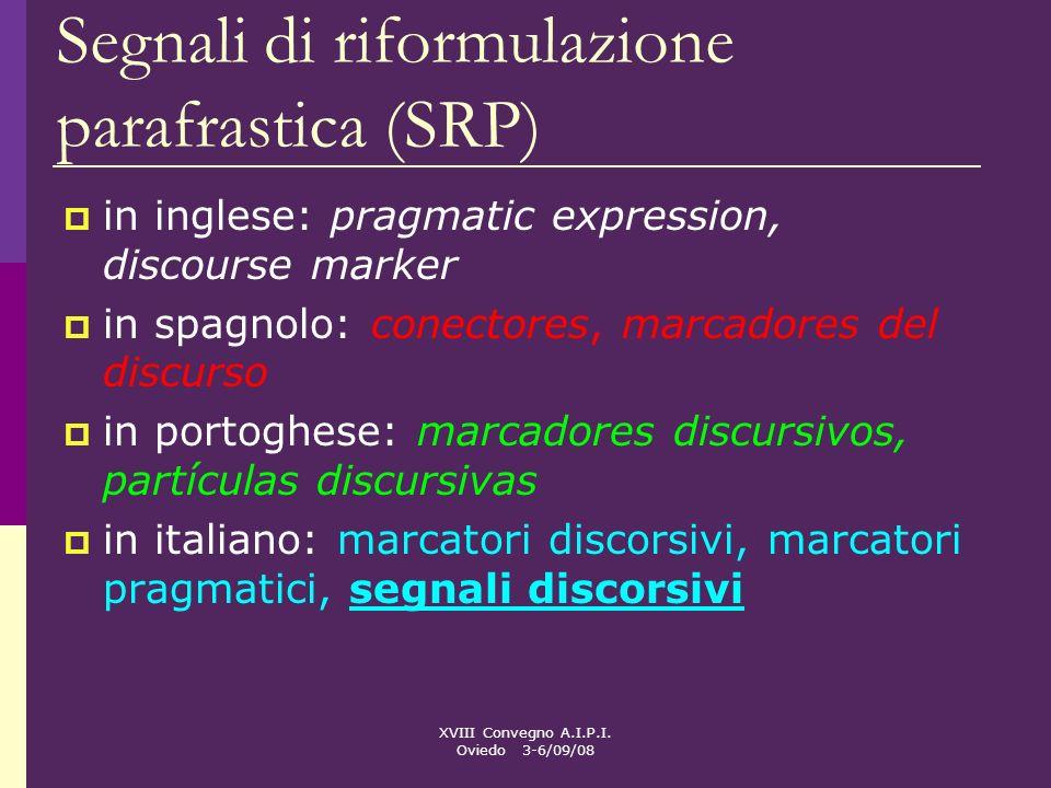 Segnali di riformulazione parafrastica (SRP)