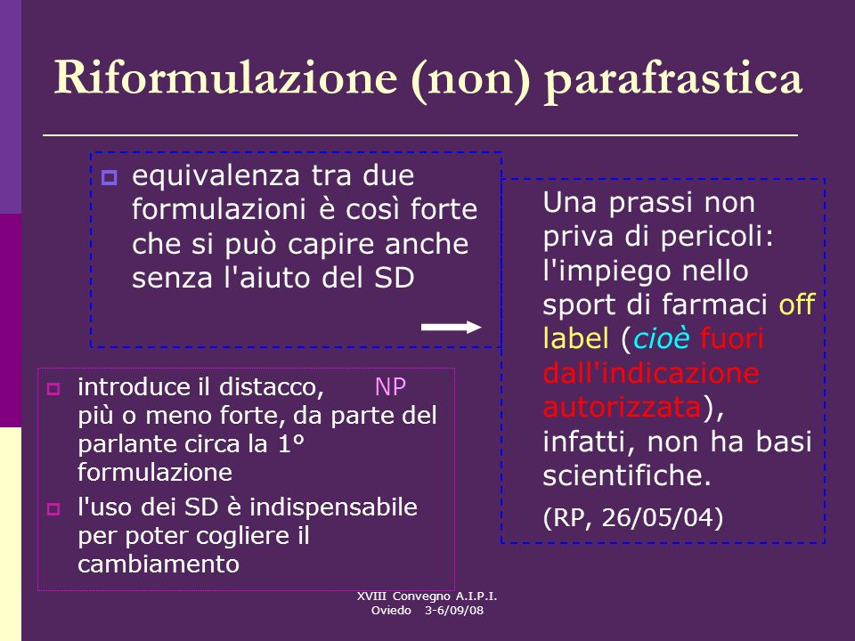 Riformulazione (non) parafrastica