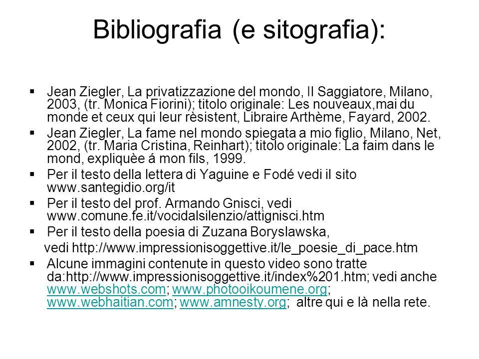 Bibliografia (e sitografia):