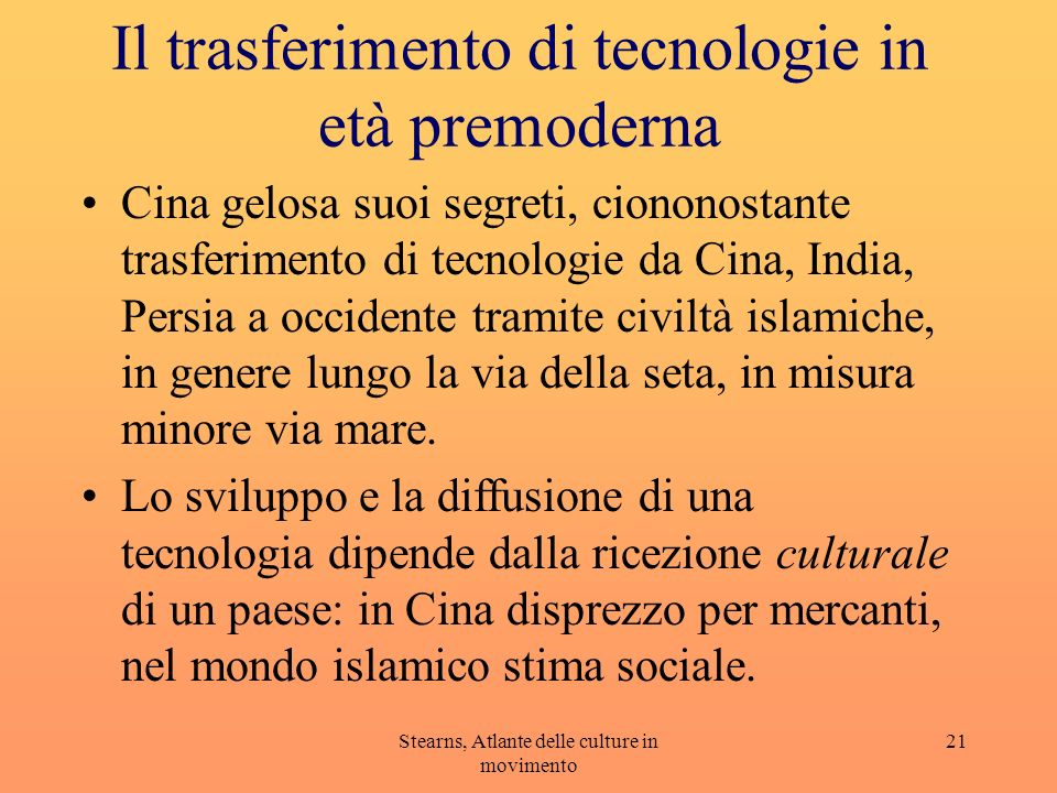 Il trasferimento di tecnologie in età premoderna