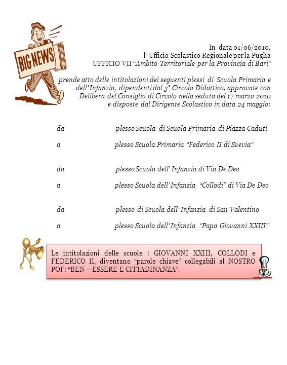 In data 01/06/2010, l' Ufficio Scolastico Regionale per la Puglia. UFFICIO VII Ambito Territoriale per la Provincia di Bari