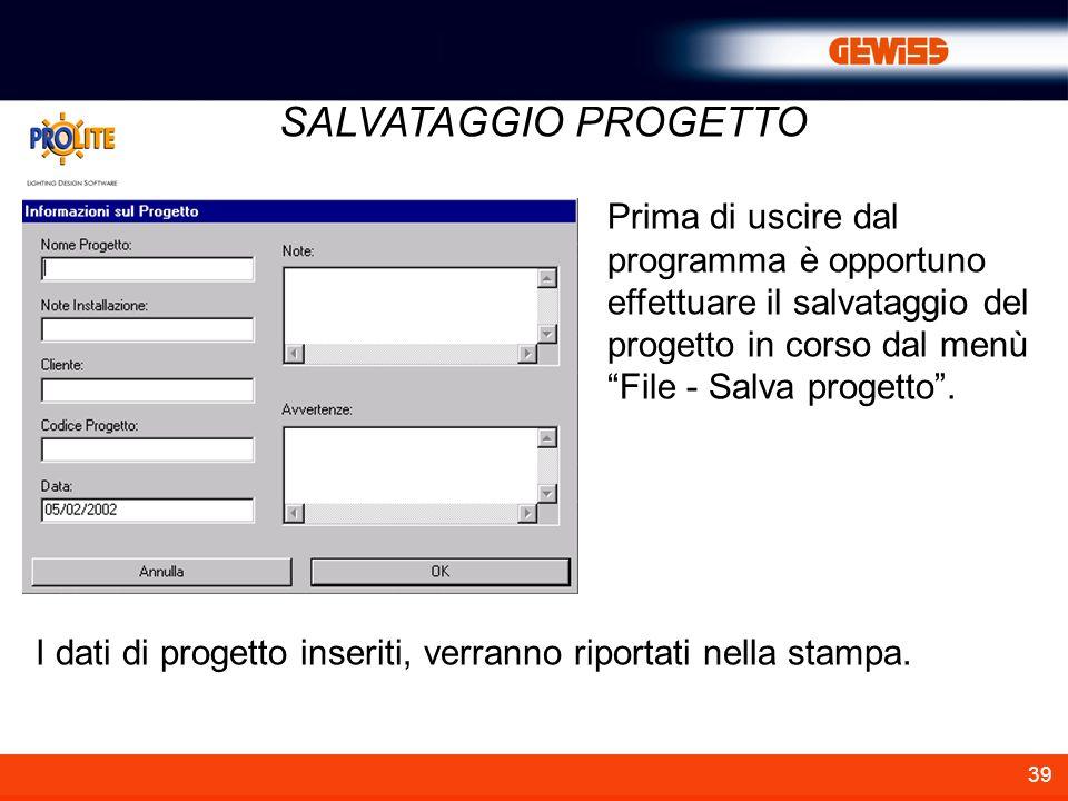 I dati di progetto inseriti, verranno riportati nella stampa.