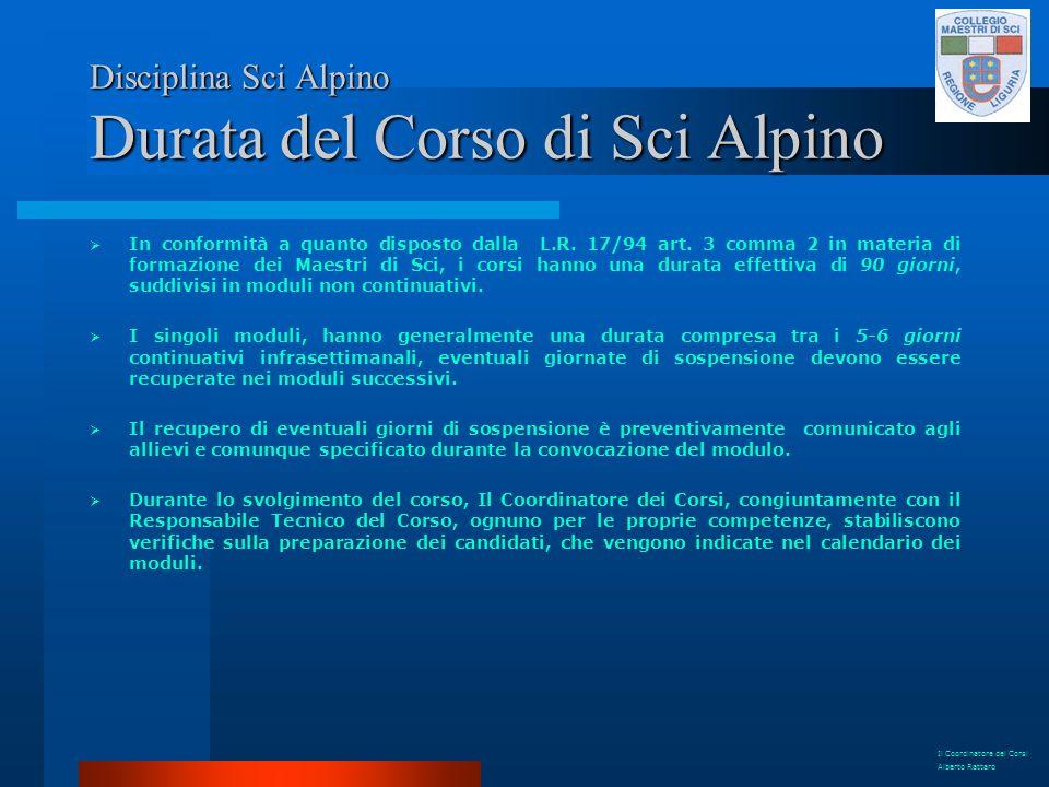 Disciplina Sci Alpino Durata del Corso di Sci Alpino