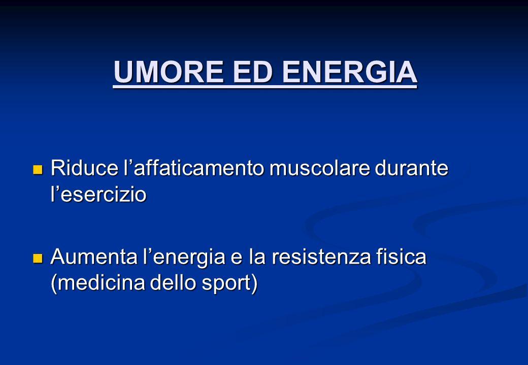 UMORE ED ENERGIA Riduce l'affaticamento muscolare durante l'esercizio