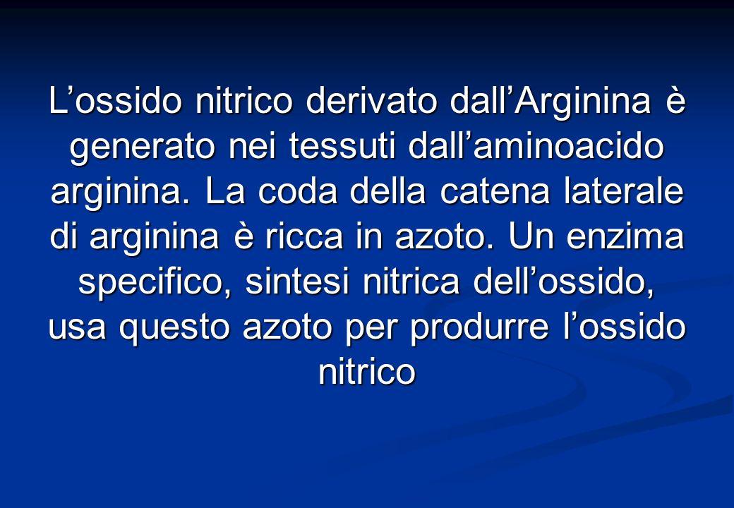 L'ossido nitrico derivato dall'Arginina è generato nei tessuti dall'aminoacido arginina.