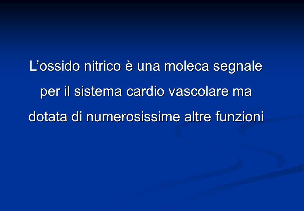 L'ossido nitrico è una moleca segnale per il sistema cardio vascolare ma dotata di numerosissime altre funzioni