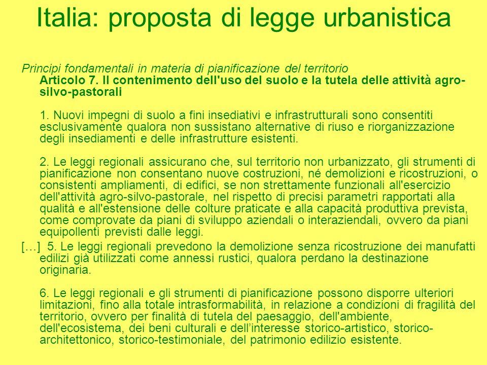 Italia: proposta di legge urbanistica