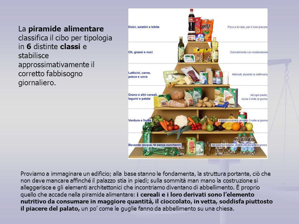 La piramide alimentare classifica il cibo per tipologia in 6 distinte classi e stabilisce approssimativamente il corretto fabbisogno giornaliero.