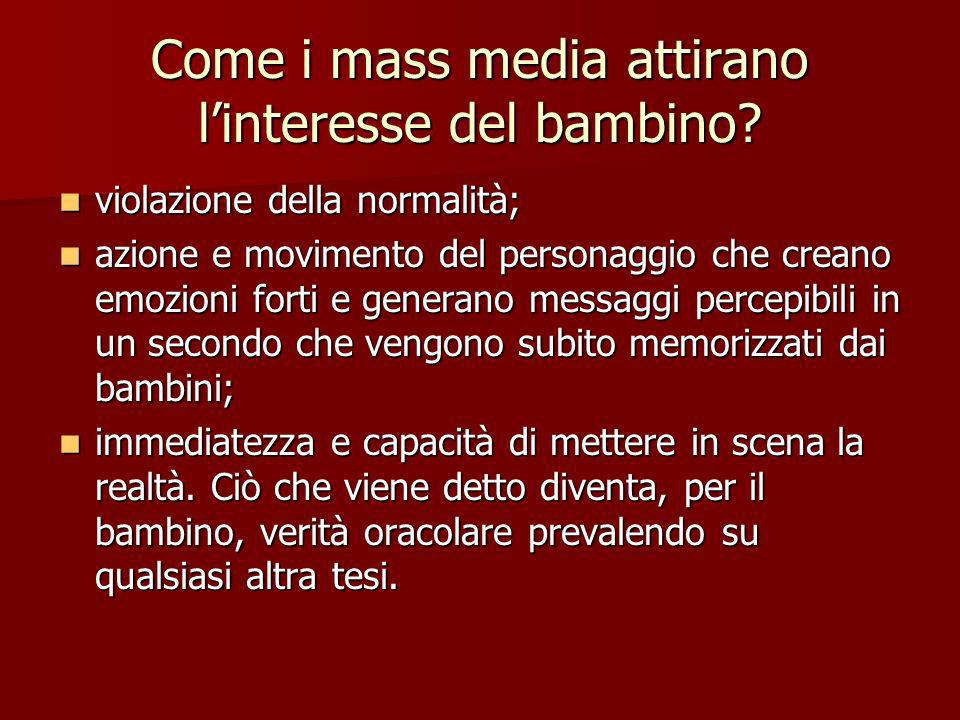 Come i mass media attirano l'interesse del bambino