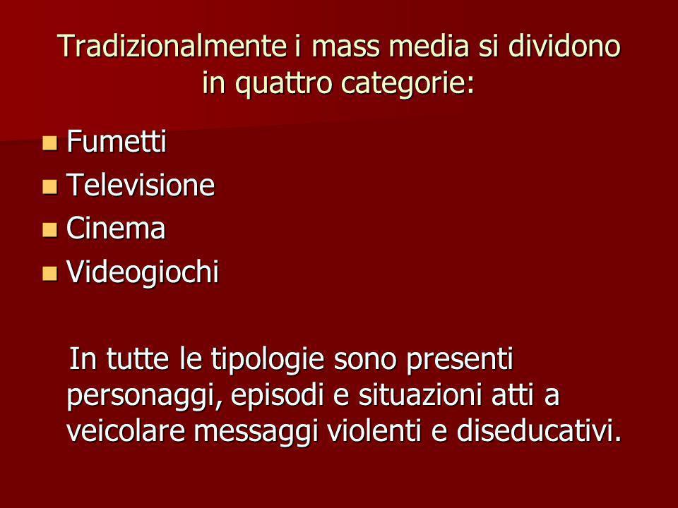 Tradizionalmente i mass media si dividono in quattro categorie: