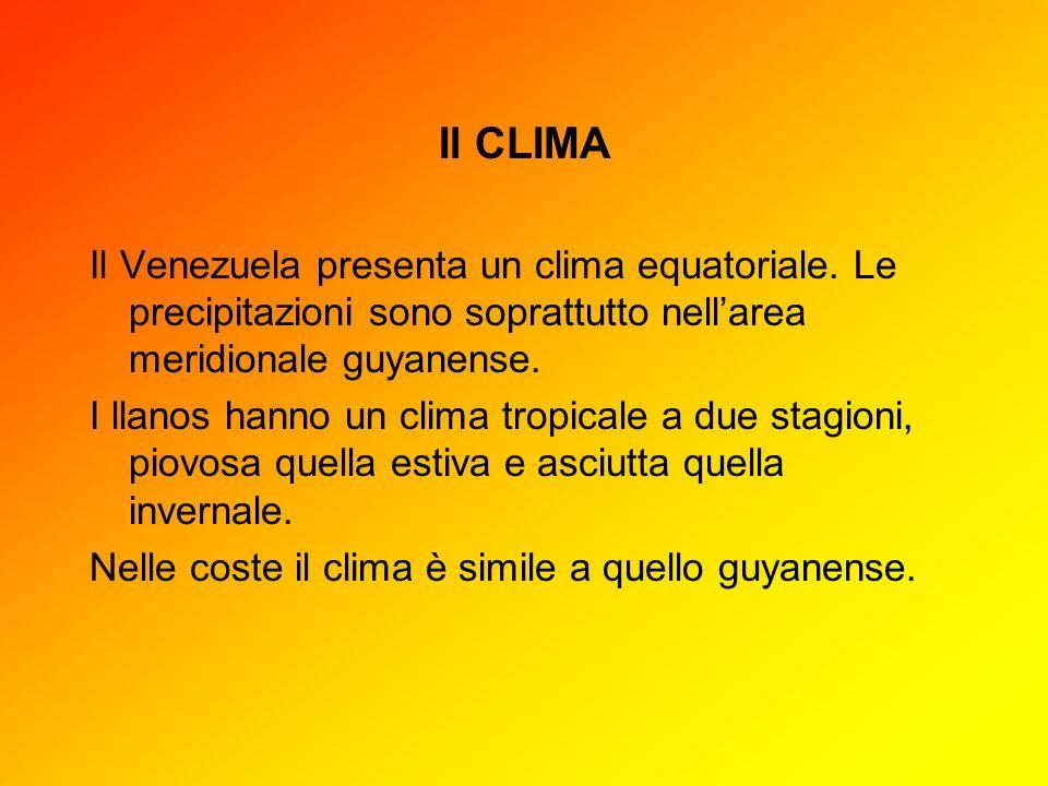 Il CLIMAIl Venezuela presenta un clima equatoriale. Le precipitazioni sono soprattutto nell'area meridionale guyanense.