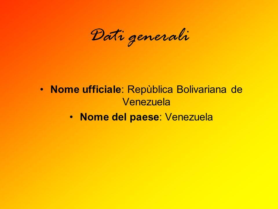 Dati generali Nome ufficiale: Repùblica Bolivariana de Venezuela