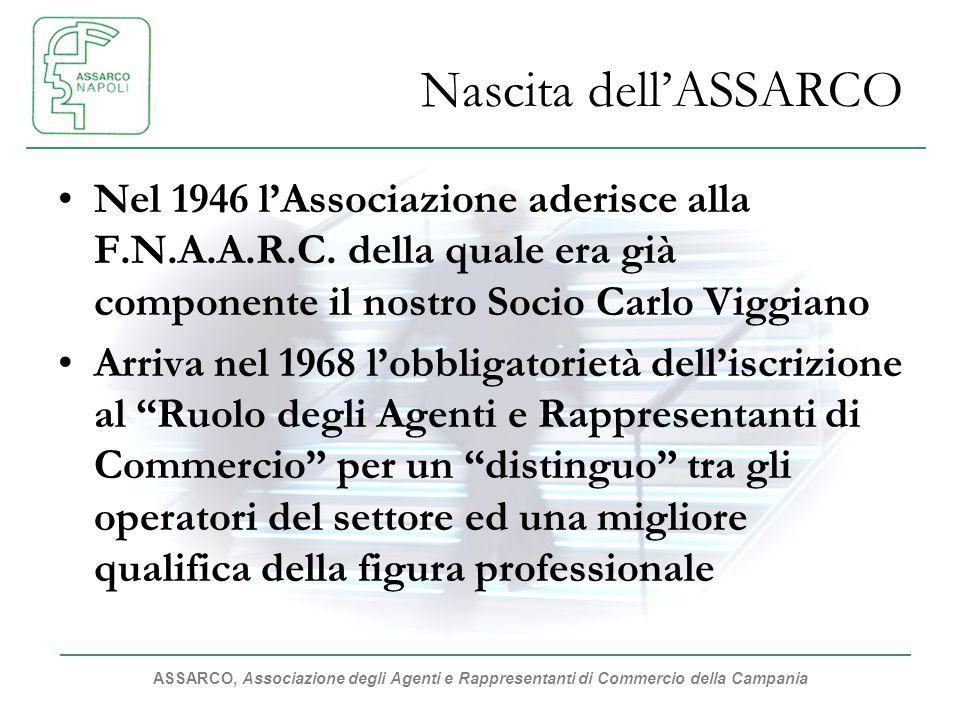 Nascita dell'ASSARCO Nel 1946 l'Associazione aderisce alla F.N.A.A.R.C. della quale era già componente il nostro Socio Carlo Viggiano.