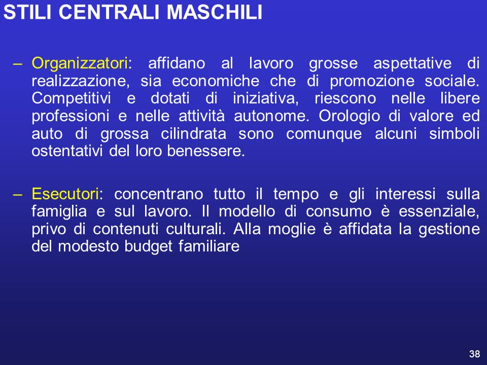 STILI CENTRALI MASCHILI