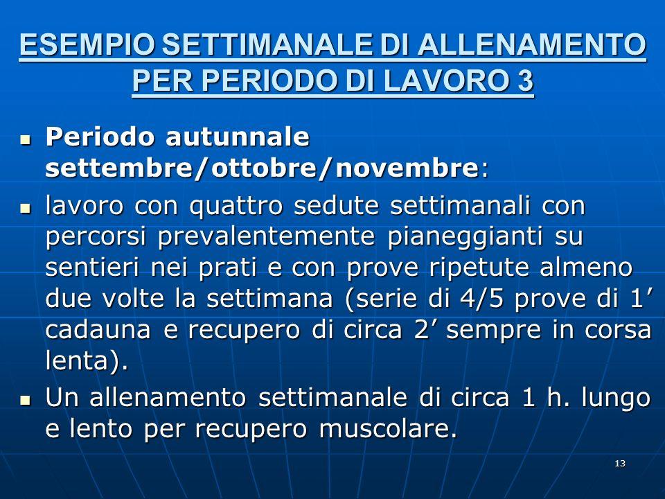 ESEMPIO SETTIMANALE DI ALLENAMENTO PER PERIODO DI LAVORO 3