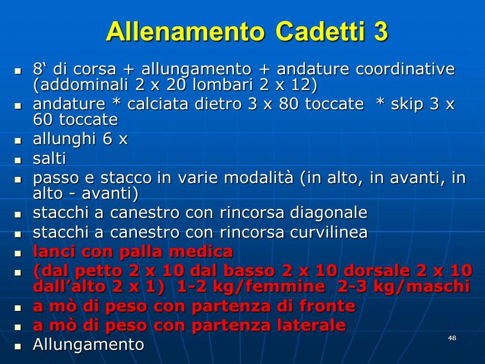 Allenamento Cadetti 3 8' di corsa + allungamento + andature coordinative (addominali 2 x 20 lombari 2 x 12)
