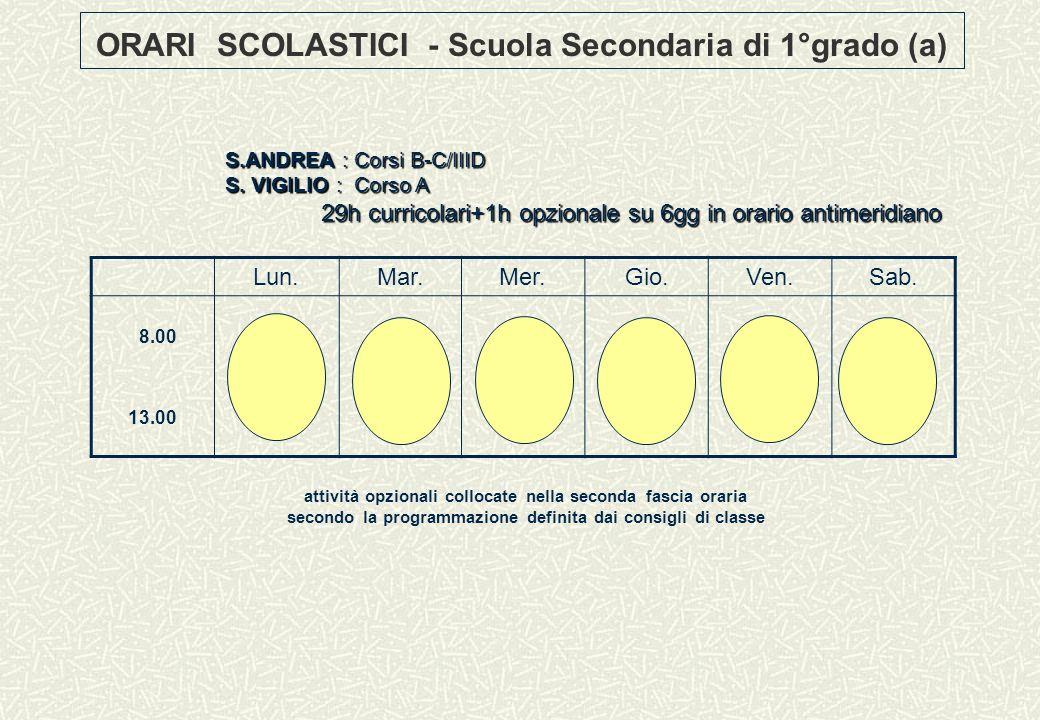 ORARI SCOLASTICI - Scuola Secondaria di 1°grado (a)
