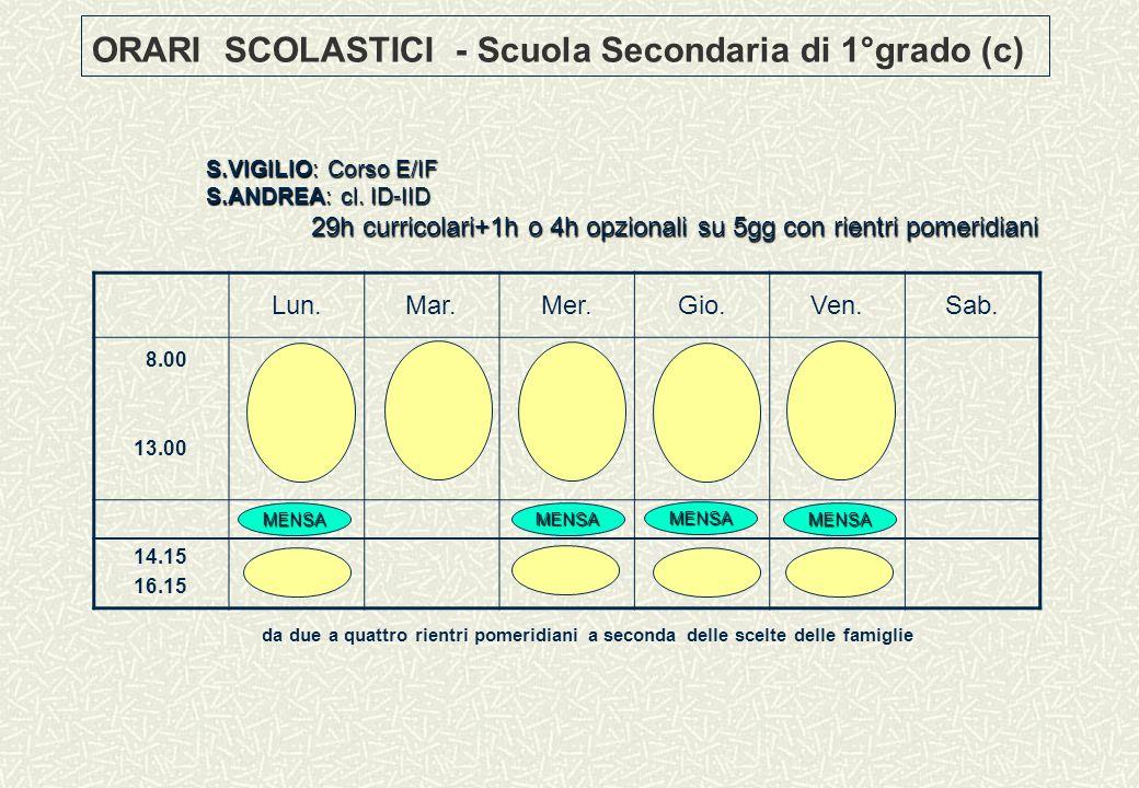 ORARI SCOLASTICI - Scuola Secondaria di 1°grado (c)