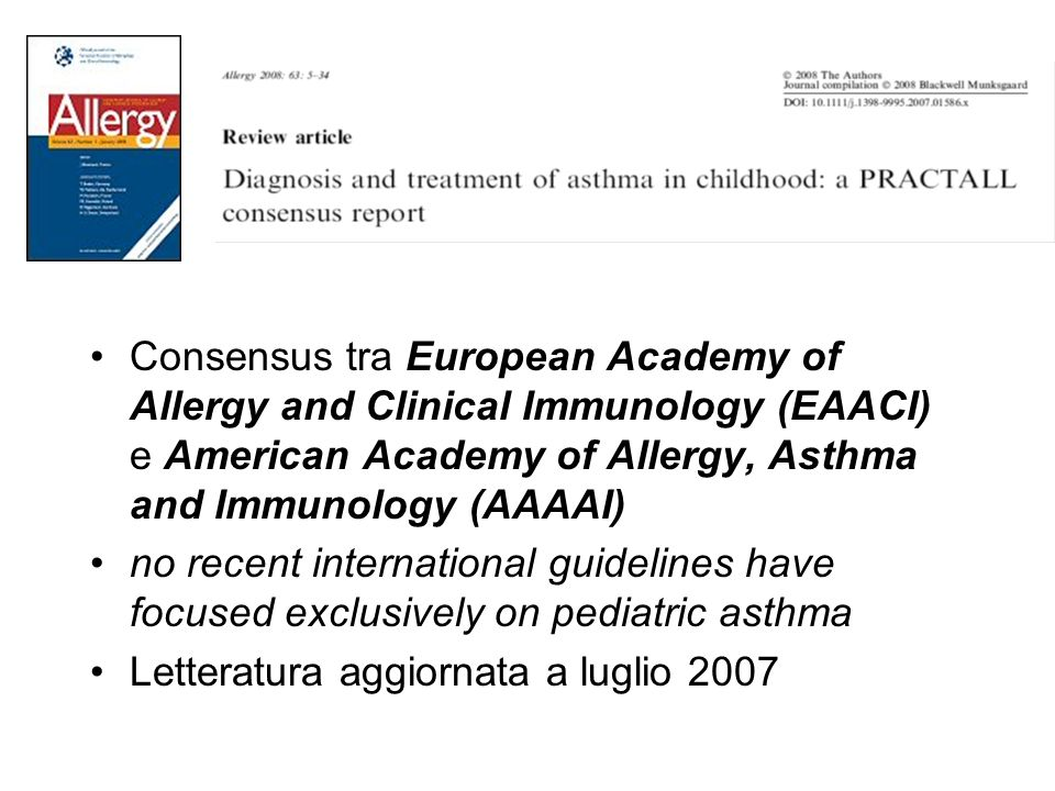 Consensus tra European Academy of Allergy and Clinical Immunology (EAACI) e American Academy of Allergy, Asthma and Immunology (AAAAI)