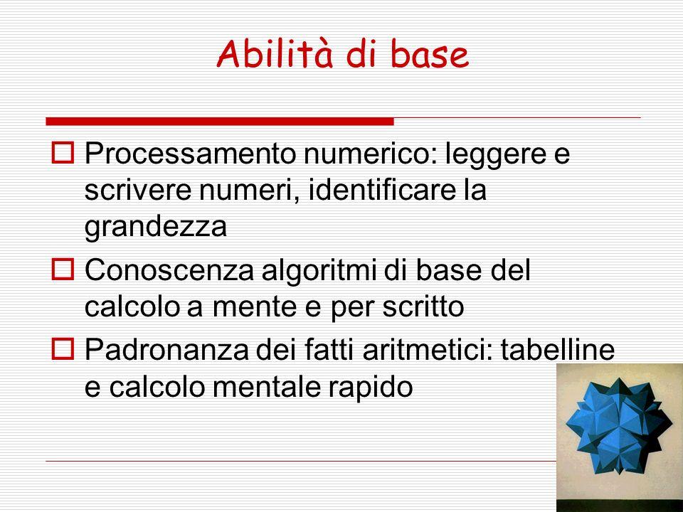 Abilità di base Processamento numerico: leggere e scrivere numeri, identificare la grandezza.