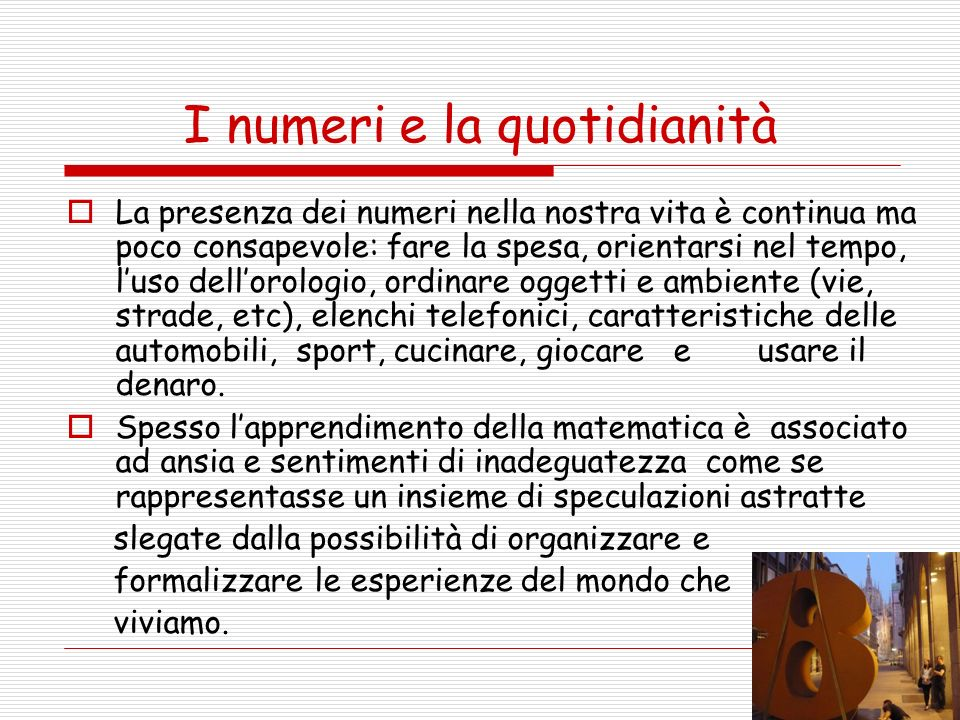 I numeri e la quotidianità