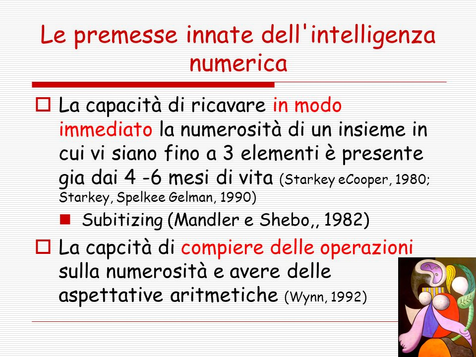 Le premesse innate dell intelligenza numerica