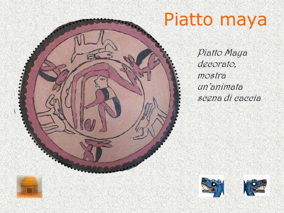 Piatto maya Piatto Maya decorato, mostra un'animata scena di caccia