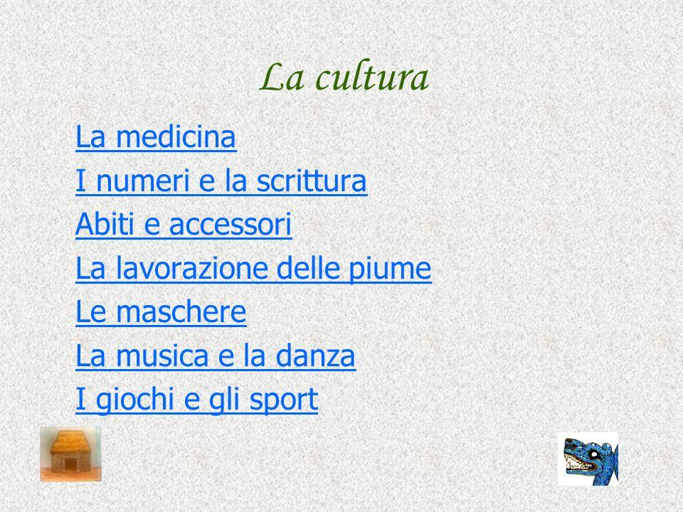 La cultura La medicina I numeri e la scrittura Abiti e accessori