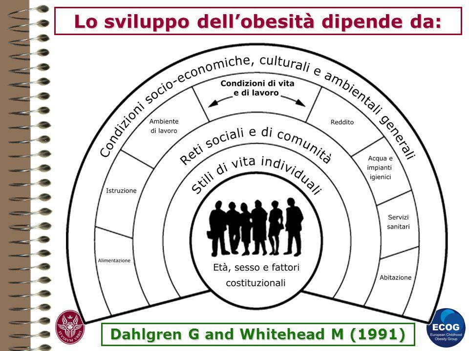 Lo sviluppo dell'obesità dipende da: Dahlgren G and Whitehead M (1991)