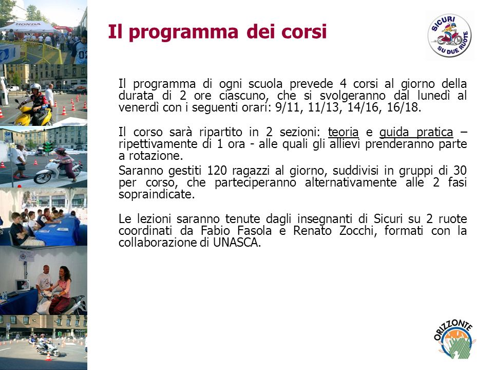 Il programma dei corsi