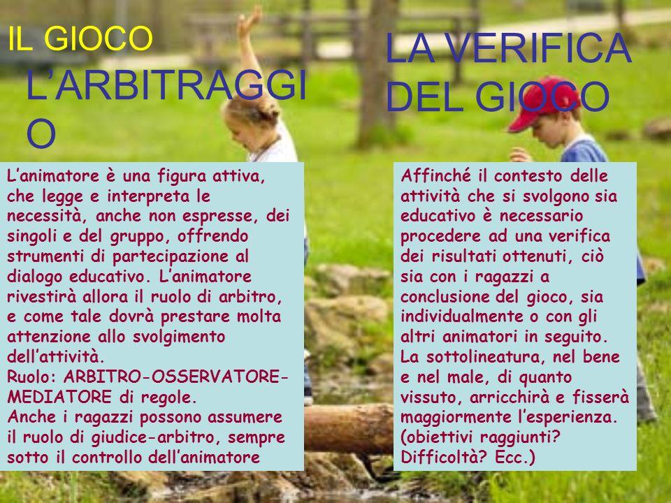 LA VERIFICA DEL GIOCO L'ARBITRAGGIO IL GIOCO