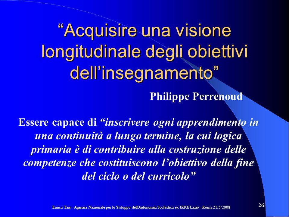 Acquisire una visione longitudinale degli obiettivi dell'insegnamento Philippe Perrenoud