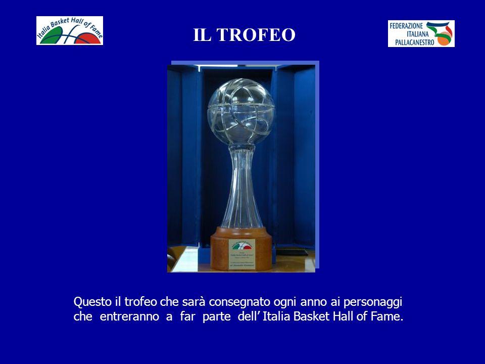 IL TROFEO Questo il trofeo che sarà consegnato ogni anno ai personaggi che entreranno a far parte dell' Italia Basket Hall of Fame.