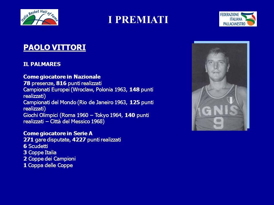I PREMIATI PAOLO VITTORI IL PALMARES Come giocatore in Nazionale