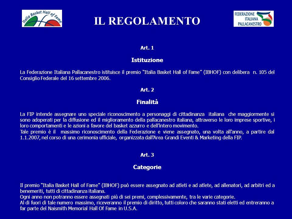 IL REGOLAMENTO Istituzione Finalità Categorie Art. 1