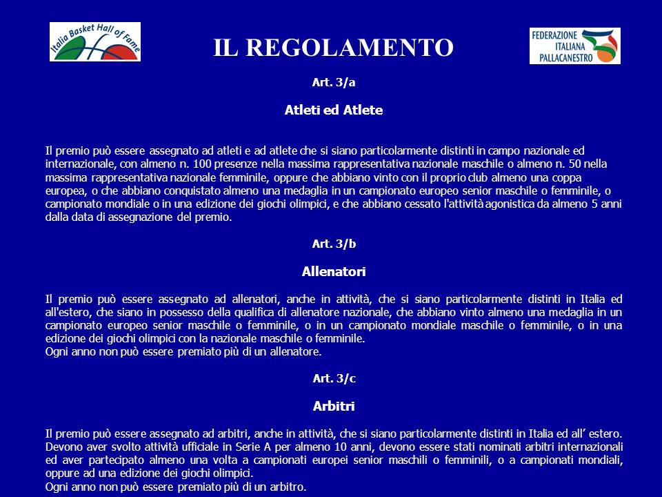 IL REGOLAMENTO Atleti ed Atlete Allenatori Arbitri Art. 3/a