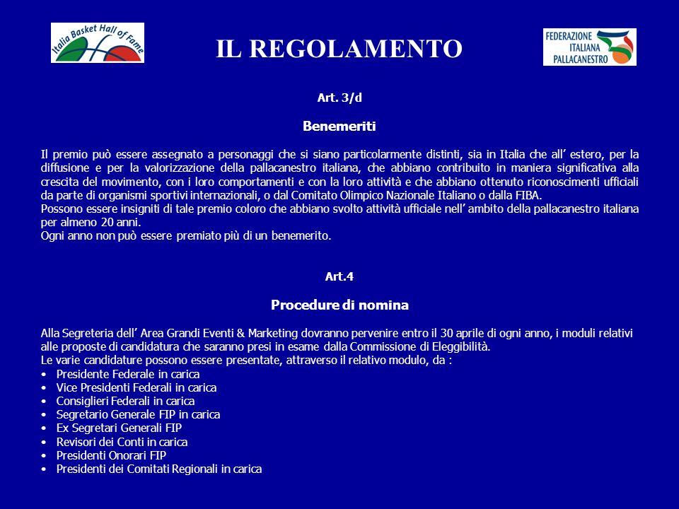 IL REGOLAMENTO Benemeriti Procedure di nomina Art. 3/d