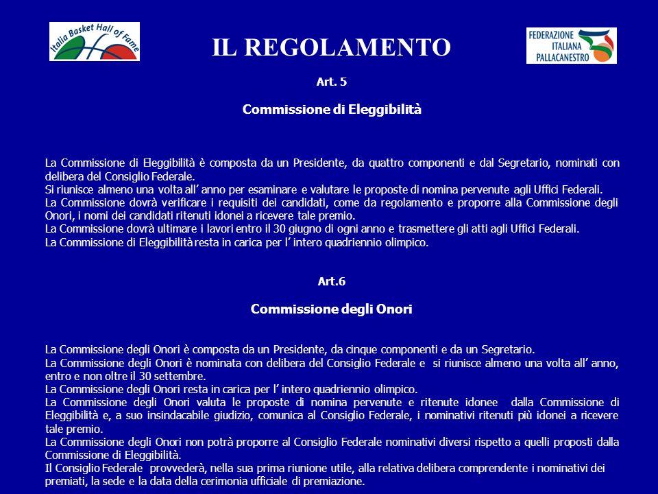 IL REGOLAMENTO Commissione di Eleggibilità Commissione degli Onori